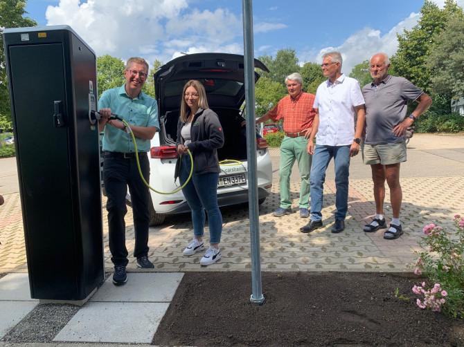 E-Car-Sharing Angebot und E-Tankstelle bei der Willy-Dieterle-Halle